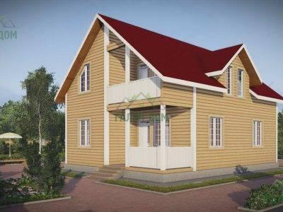 Картинка (2) Брусовой дом 9х10 с кукушкой и балконом (ДБ-50)