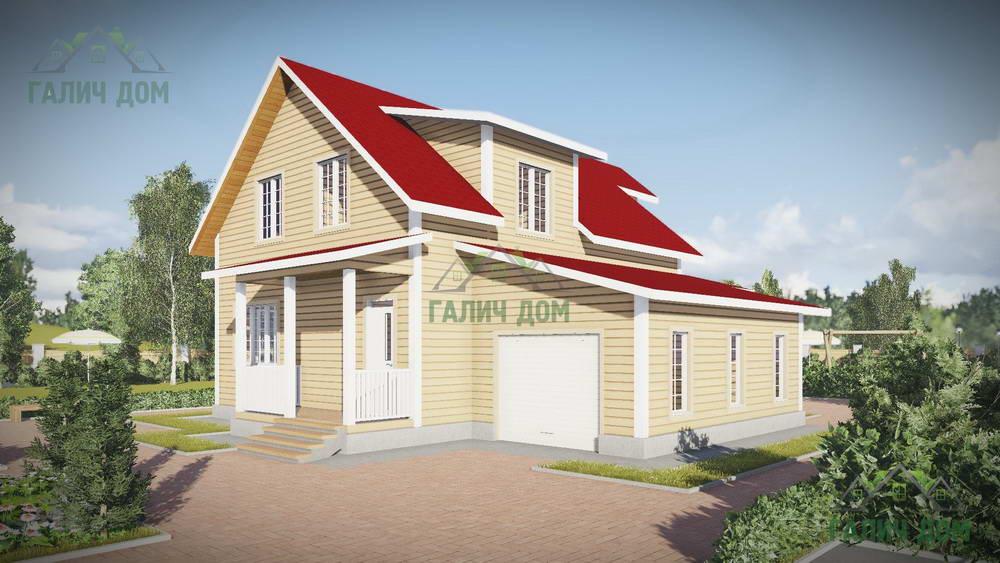 Картинка (1) Дом из бруса 12х13 с гаражом (ДБ-51)