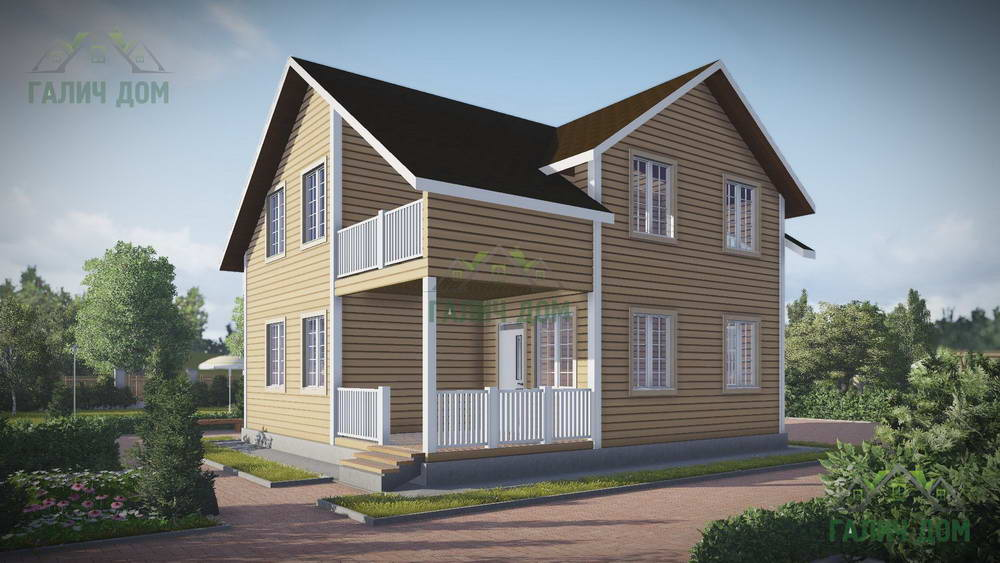 Картинка (1) Дом из бруса 9х9 с балконом (ДБ-59)