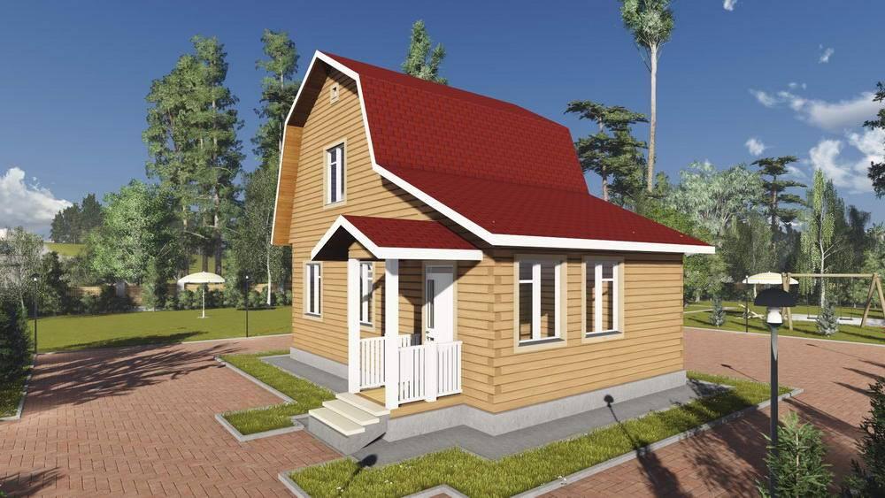 Картинка (1) Брусовой дом 7 на 9 с ломаной крышей (ДБ-99)