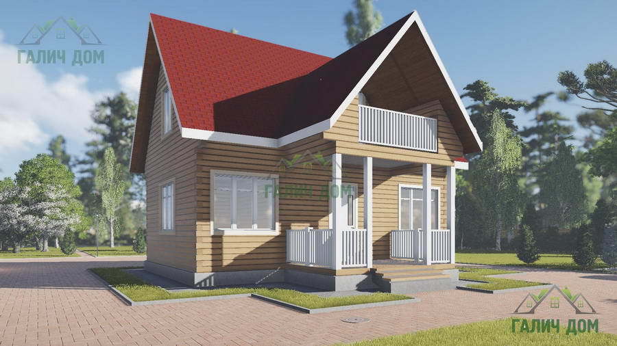 Картинка (1) Дом из бруса 7х8 с мансардой (ДБ-21)