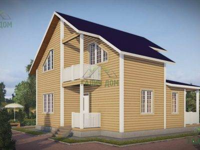 Картинка (2) Дачный дом из бруса 9х10 с балконом (ДБ-43)