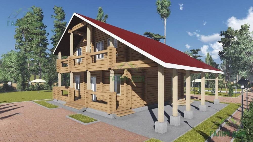 Картинка (1) Загородный дом 11х14 из бруса с навесом (ДБ-105)