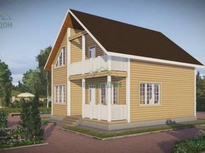 Картинка (2) Дачный дом из бруса 8х9 с балконом (ДБ-44)