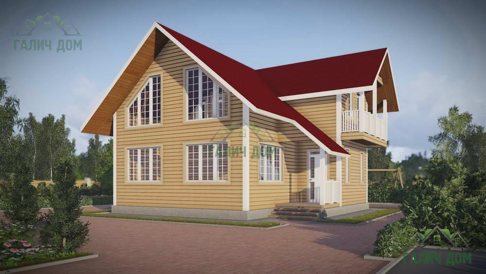 Картинка (1) Дом из бруса 9х11 с балконом (ДБ-45)