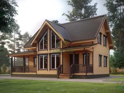 ДБ-185 | Загородный дом из профилированного бруса 7,5х12