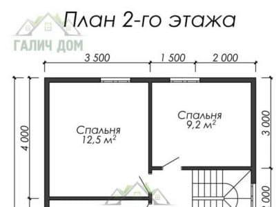 Картинка (6) Планировка 2-го этажа дома из бруса 7 на 10 (ДБ-22)