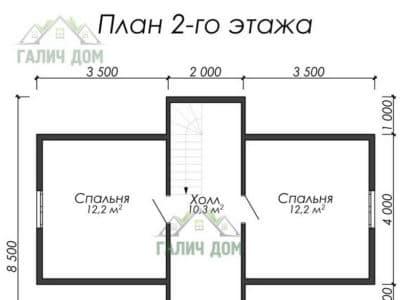 Картинка (6) Планировка 2-го этажа дома из бруса 7х8 с мансардой (ДБ-21)