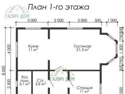Картинка (5) Планировка 1-го этажа (ДБ-26)