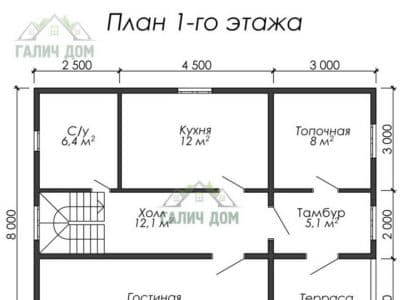 Картинка (7) Планировка 1-го этажа (ДБ-27)