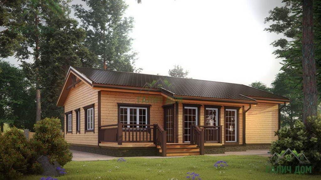 Картинка (1) Одноэтажный дом из бруса 11 на 13 (ДБ-4)
