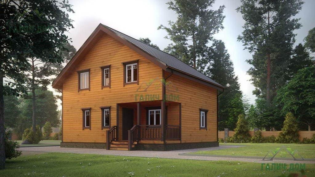 Картинка (1) Красивый дом из бруса 8х9 (ДБ-179)