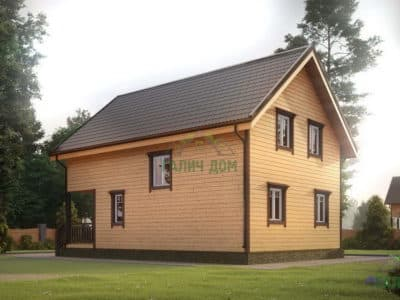 Картинка (3) Дом из бруса 7 на 10 с террасой (ДБ-22)