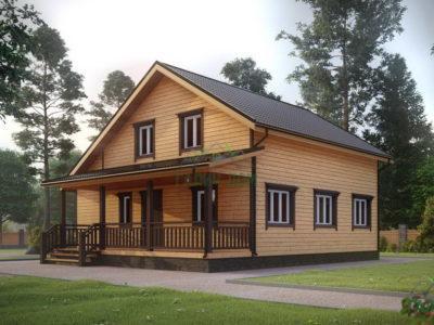 ДБ-101 | Дом из бруса 10х11 с балконом