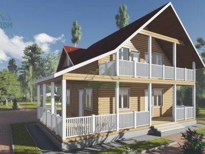 ДБ-94 | Брусовой дом 8х8 с балконом и террасой