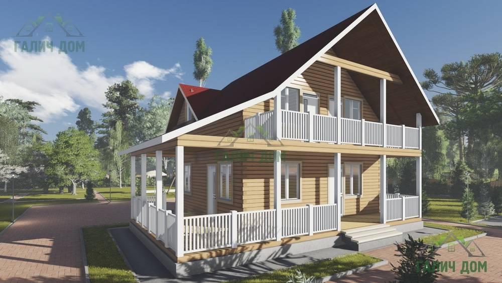 Картинка (1) Брусовой дом 8х8 с балконом и террасой (ДБ-94)