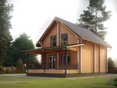 Картинка (2) Дачный дом из бруса 6 на 7 с мансардой (ДБ-39)