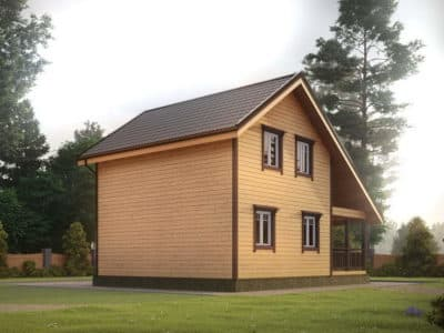 Картинка (3) Проект дома из бруса 7х9 с террасой (ДБ-34)