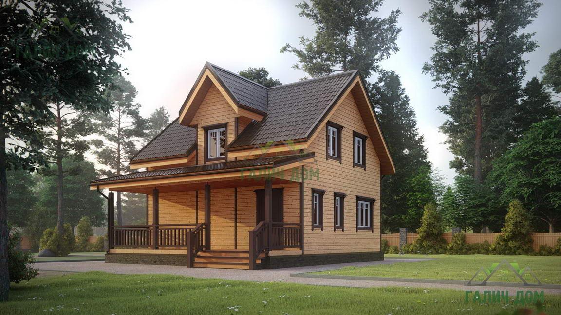 Картинка (1) Дом из бруса 8 на 9 с террасой (ДБ-36)
