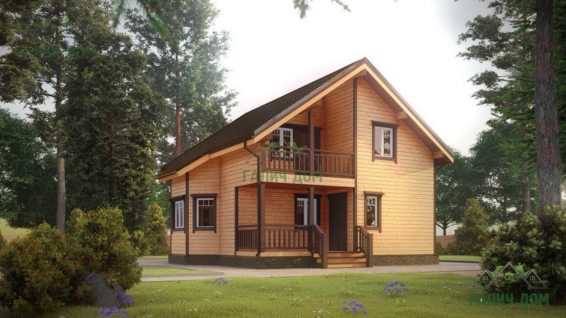 Картинка (1) Дачный дом из бруса 8 на 9 (ДБ-38)