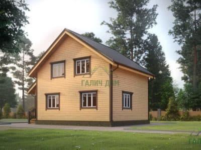 Картинка (2) Дом из бруса 7х10 в стиле шале (ДБ-23)