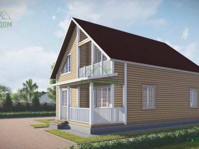 Картинка (2) Проект дома из бруса 9 на 10 с балконом (ДБ-53)
