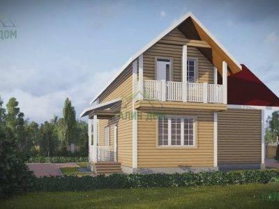 Картинка (3) Проект дома из бруса 9х11 с балконом (ДБ-45)