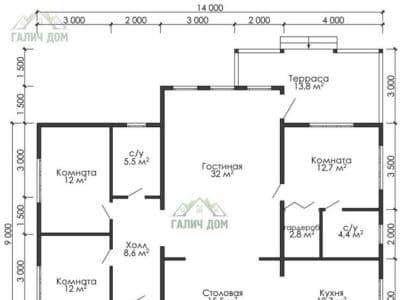 Картинка (5) План 1 этажа одноэтажного дома 11 на 13 (ДБ-4)