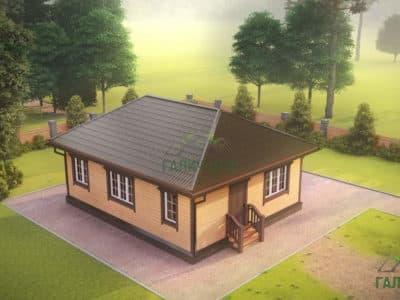ДБ-177 | Одноэтажный дом из бруса 7х9