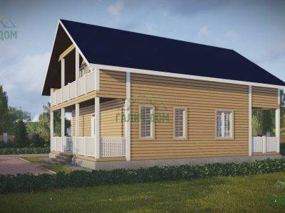 Картинка (4) Дом из бруса 8х12 с балконом и террасой (ДБ-48)