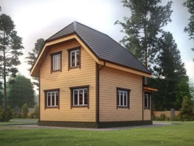 Картинка (4) Проект дома из бруса 6х9 с верандой (ДБ-32)