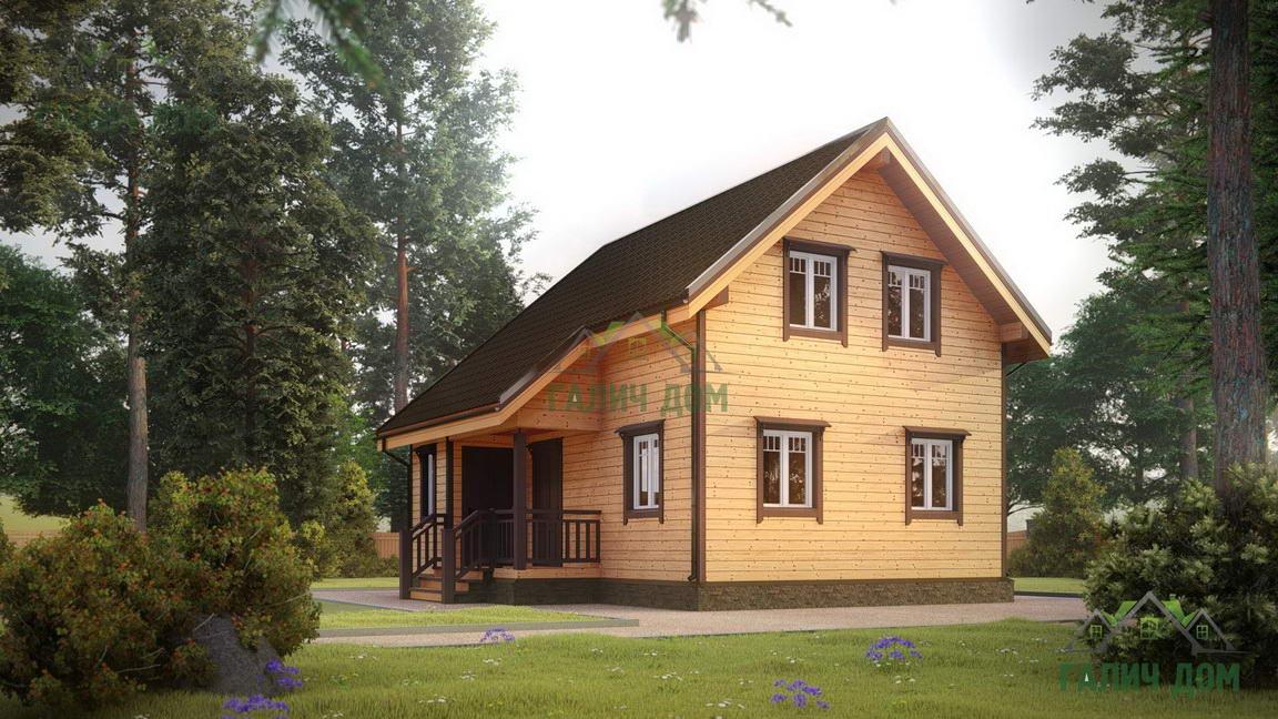 Картинка (1) Дачный дом из бруса 7х8 (ДБ-40)