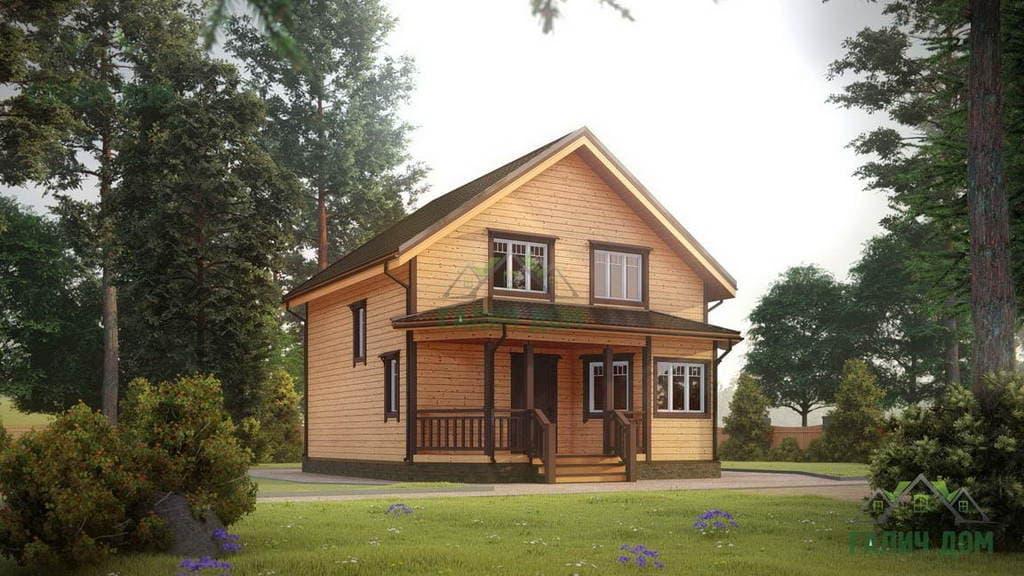 Картинка (1) Дом из бруса 8х8 полутораэтажный (ДБ-24)