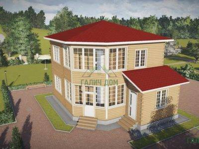 ДБ-69 | Двухэтажный дом из бруса 8х8