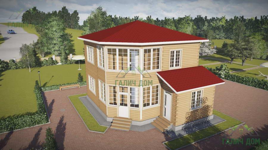 Картинка (1) Двухэтажный дом из бруса 8х8 с большими окнами (ДБ-69)