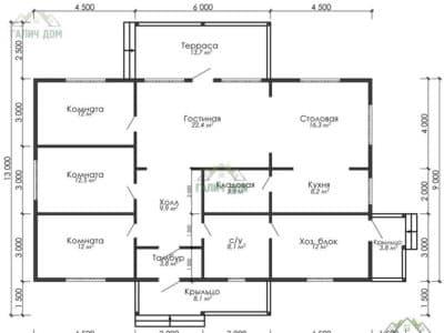Картинка (5) План одноэтажного дома из бруса 13х15 (ДБ-5)