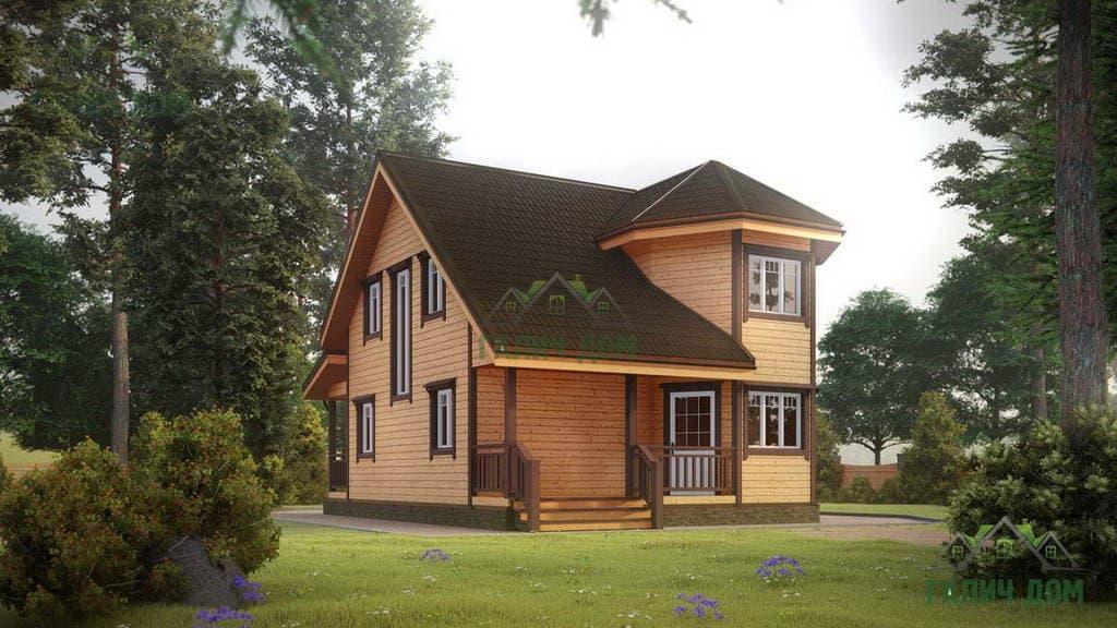 Картинка (1) Двухэтажный дом из бруса 7х8 (ДБ-25)