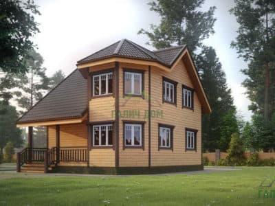 Картинка (2) Двухэтажный дом из бруса 7х8 с эркером (ДБ-25)