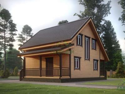 Картинка (4) Проект двухэтажного дома из бруса 7х8 с эркером (ДБ-25)