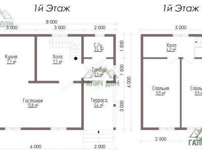 Картинка (5) – План дома из профилированного бруса 6х8