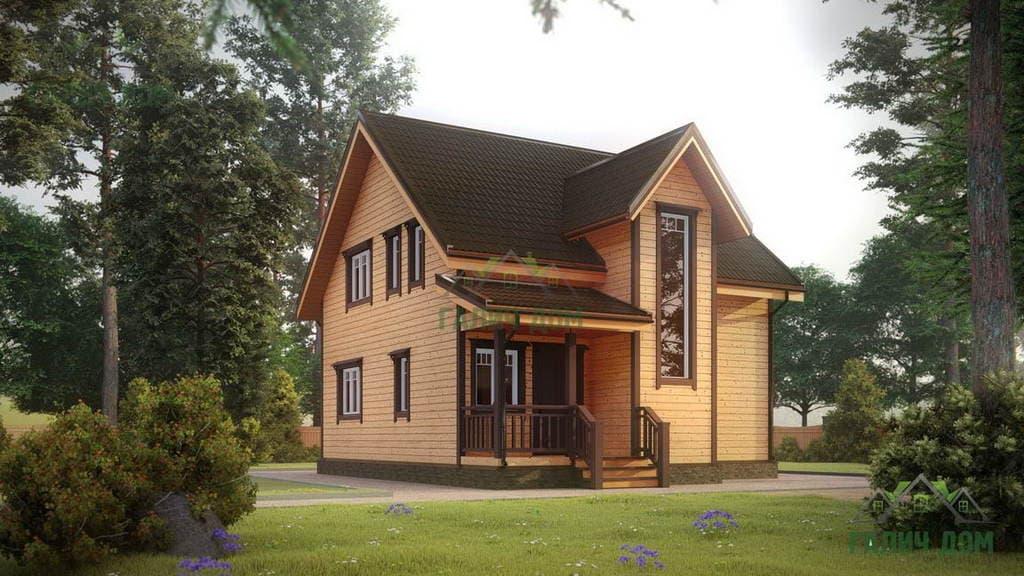 Картинка (1) Полутораэтажный дом из бруса 9х9 с эркером (ДБ-26)