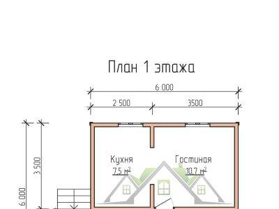 Картинка (5) План 1 этажа дома из бруса 6 на 6