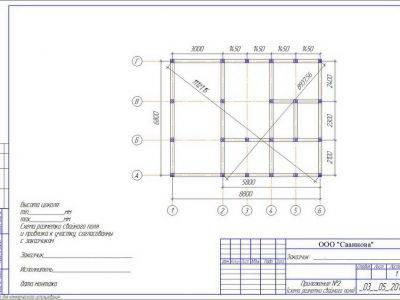 Картинка (8) План свайного фундамента дома из бруса 7х9 (ДБ-34)