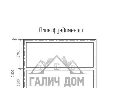 Картинка (7) План фундамента дома из бруса 7х7,5 с мансардой (ДБ-30)