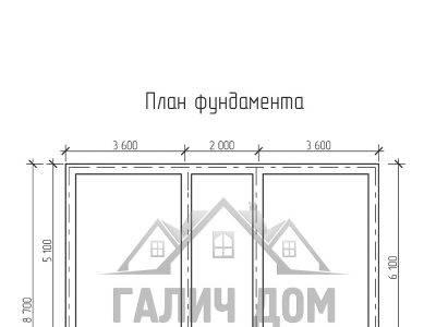 Картинка (7) План фундамента дома из бруса 7х8 с мансардой (ДБ-21)