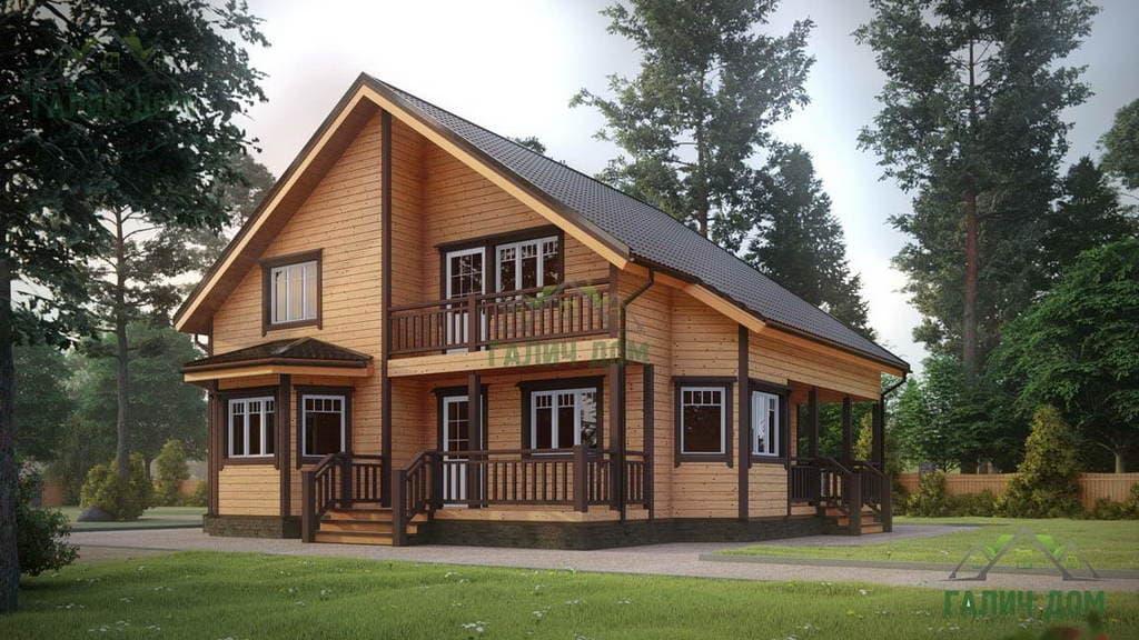 Картинка (1) Двухэтажный дом из бруса 11 на 11 (ДБ-29)