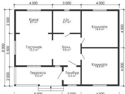 Картинка (6) План одноэтажного дома из бруса 8х11