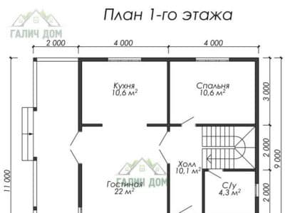 Картинка (5) Планировка 1 этажа дома (ДБ-13)