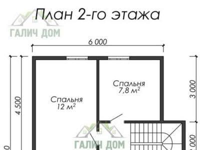 Картинка (6) Планировка 2 этажа дома (ДБ-13)