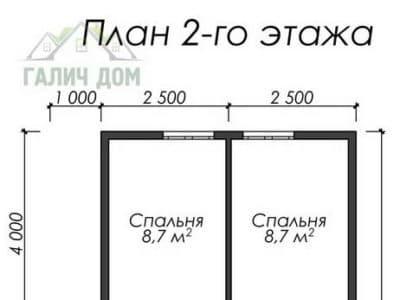 Картинка (6) Планировка 2-го этажа дома (ДБ-15)